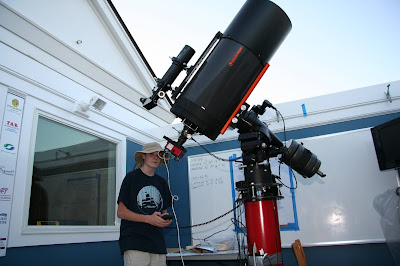 "Albert Brox III Controlling  the 14"" Telescope in the David B. Cole Observatory - Photo by Mike Gyra"