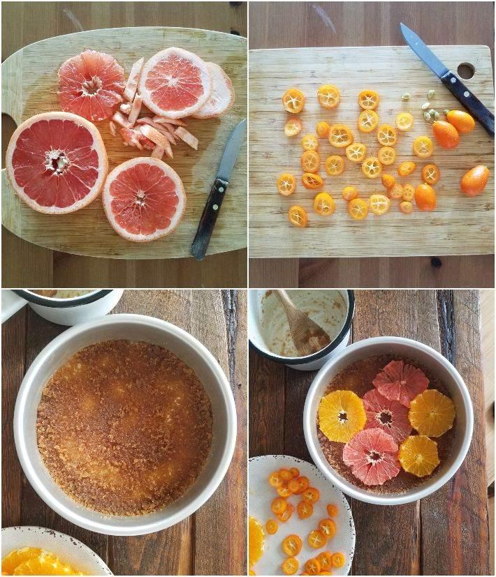 Preparación de la cubierta de frutas para la torta volteada. Collage de 4 fotos