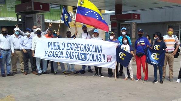 PLATAFORMA UNITARIA REALIZÓ PROTESTA POR FALTA DE COMBUSTIBLE EN CARORA