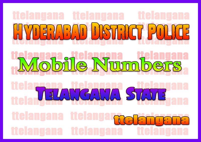 Hyderabad Police Officer Mobile / Land Line Numbers List
