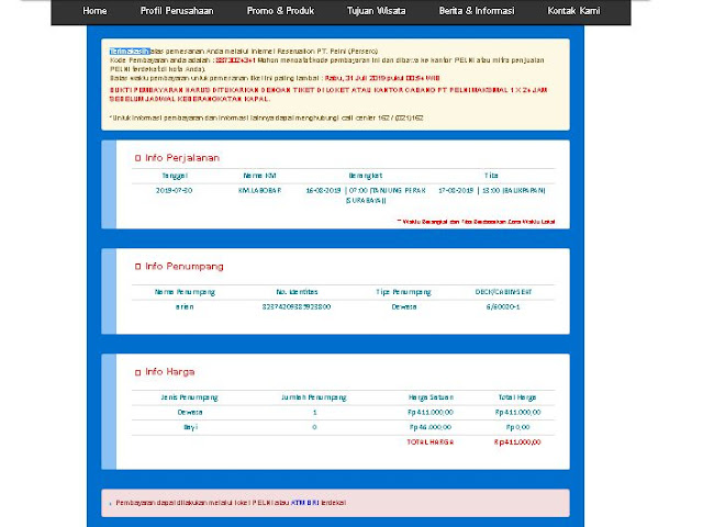 Cara Beli Tiket Kapal Laut Pelni Online Via Indomart atau alfamart