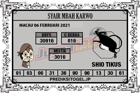 Syair Mbah Karwo Togel Macau Sabtu, 6 Februari 2021