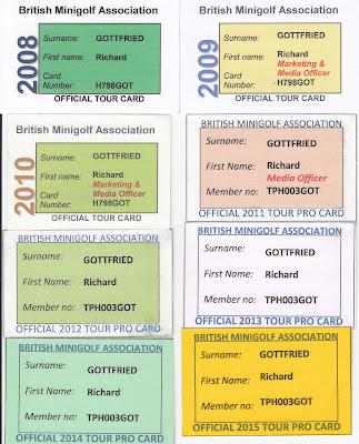 British Minigolf Association membership cards 2008-2015