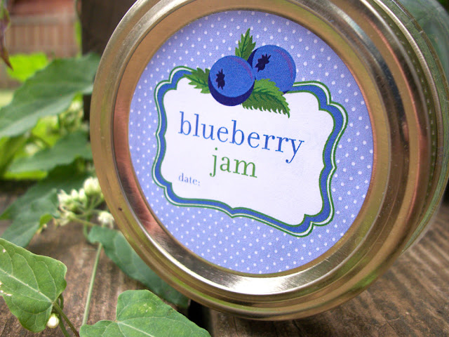Blueberry Jam canning jar label