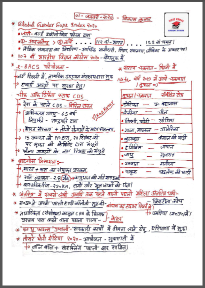 Handwritten Current Affairs (November 2020) By Vikas Kumar : For All Competitive Exam PDF Book