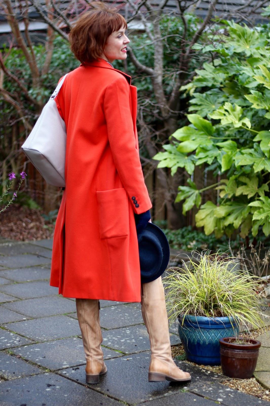 Is orange an Unprofessional Colour? Orange Coat, Navy, Grey and Tan, over 40.