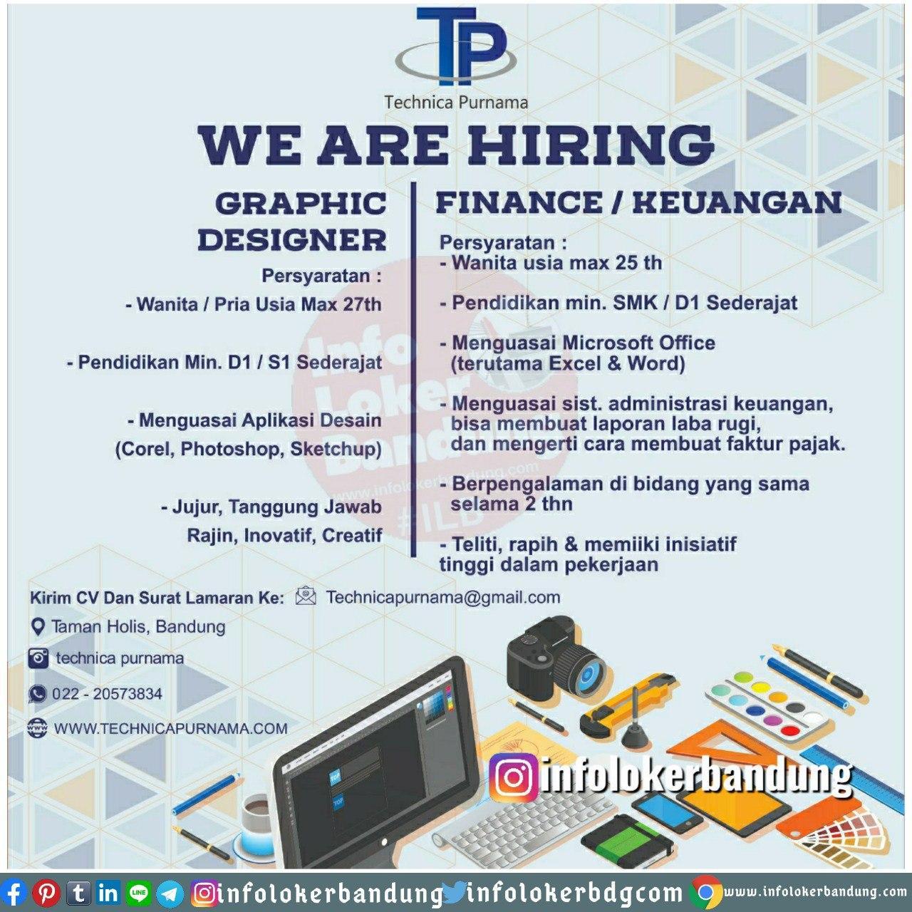 Lowongan Kerja Technica Purnama Bandung Juni 2020