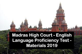 Madras High Court - English Language Proficiency Test - Materials 2019