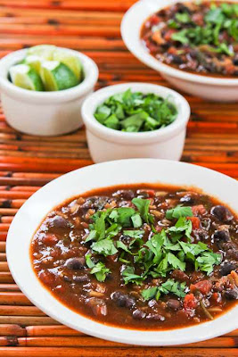 Slow Cooker Vegetarian Black Bean and Rice Soup with Lime and Cilantro [KalynsKitchen.com]