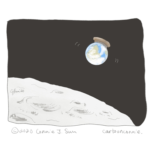 illustration, earth from the moon, earth as a snow globe being shaken up, global pandemic, coronavirus, before and after, drawing, journal, connie sun, cartoonconnie