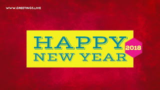 Yellow happy new Year 2018 in Red Gradient Back ground