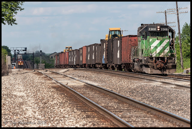 BNSF 2368, in Cascade Green, sits in the siding along the Marceline Subdivision at Baring, MO.