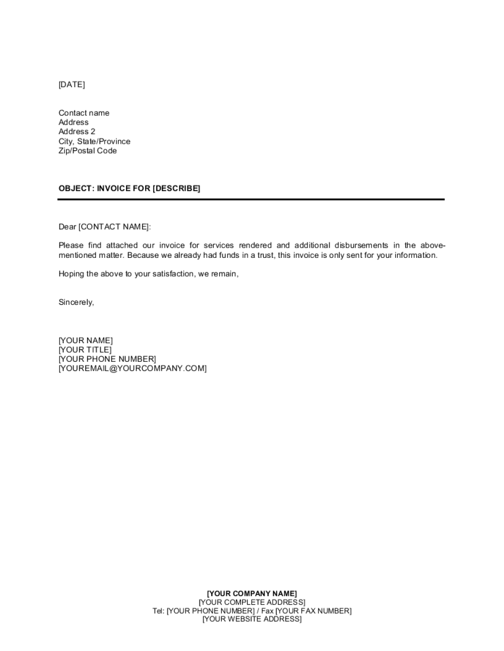 Business Letter Format With Attachments - Birthday Letter