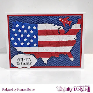 Divinity Designs Stamp Set: America the Beautiful, Custom Dies: USA Map, Double Stitched Rectangles, Double Pierced Vintage Labels, Paper Collection: Patriotic Collection