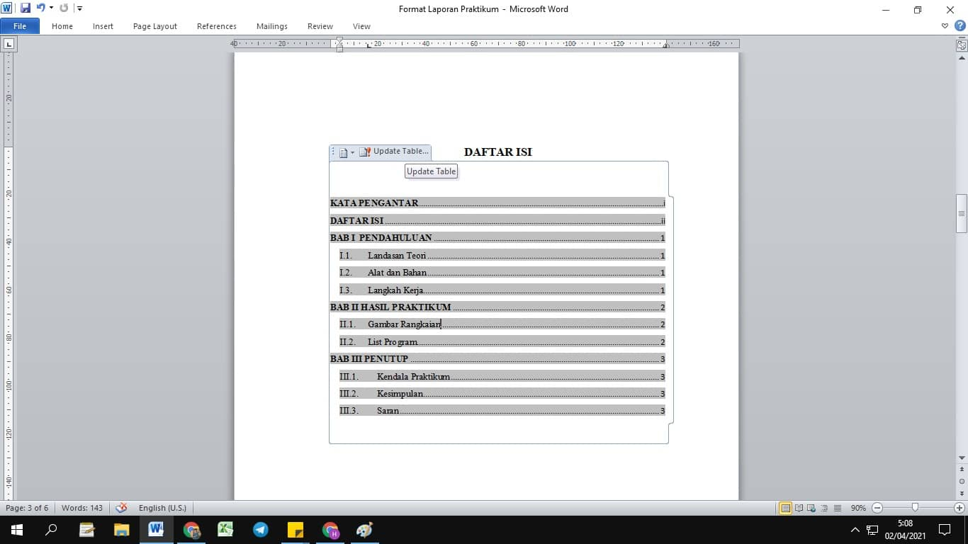 Update daftar isi otomatis ms. word