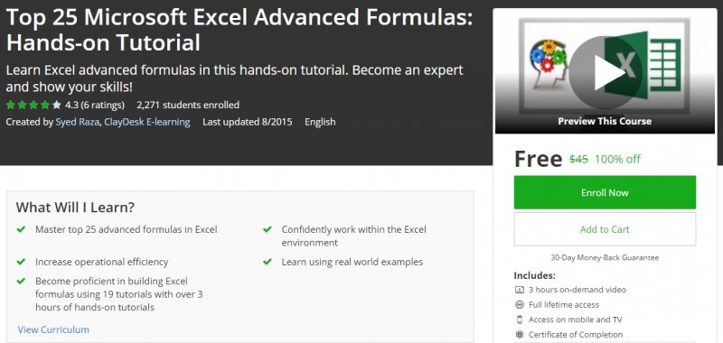 100% Off] Top 25 Microsoft Excel Advanced Formulas: Hands-on