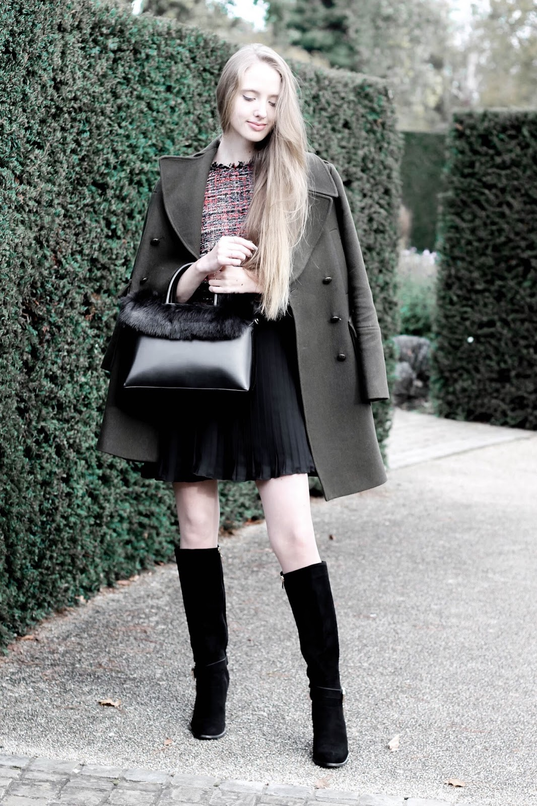 Fashion blog styling a khaki wool coat in winter