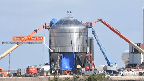 Progress continues at rapid pace as seen here with SN7 tank test (Source: Mary, @bocachicagal)