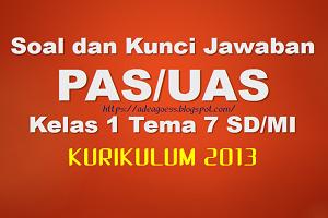 Download Soal dan Kunci Jawaban PAS/UAS Kelas 1 Tema 7 SD/MI Kurikulum 2013