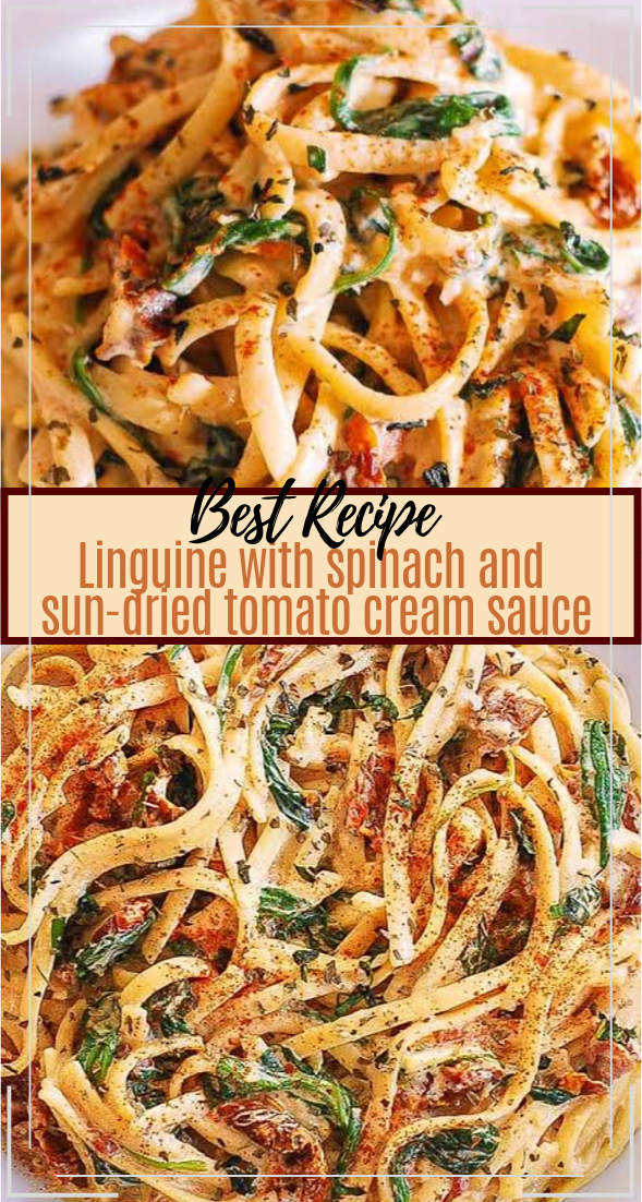 Linguine with Spinach and Sun-Dried Tomato Cream Sauce #healthyfood #dietketo #breakfast #food