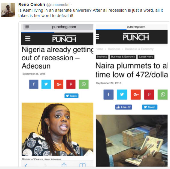 Reno Omokri berates Finance minister Kemi Adeosun as naira futher plummets