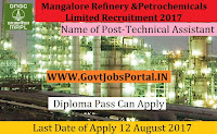 Mangalore Refinery and Petrochemicals Limited Recruitment 2017– Technical Assistant
