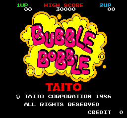 Captura de pantalla de Bubble Bobble con la presentación. Se muestra el texto rosa sobre fondo de burbuja amarillo