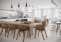 Magnificent Scandinavian dining room with long wooden table and pendant lights ideas