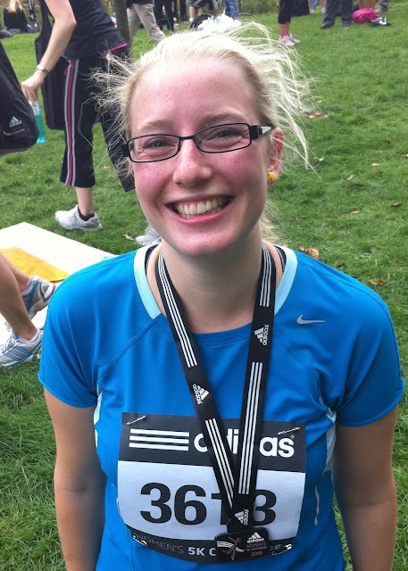 me back in 2010 sweaty and with a finishers medal for the adidas women's 5k in London