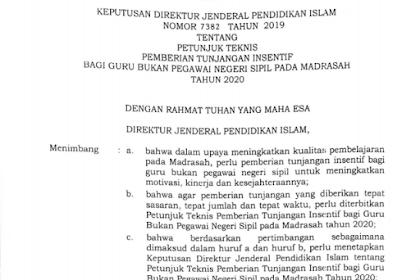 Juknis Pemberian Tunjangan Insentif Guru Bukan PNS Madrasah 2020