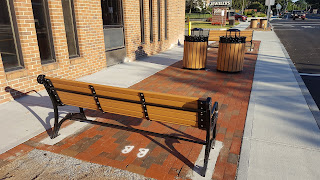 new benches and trash/recycle containers