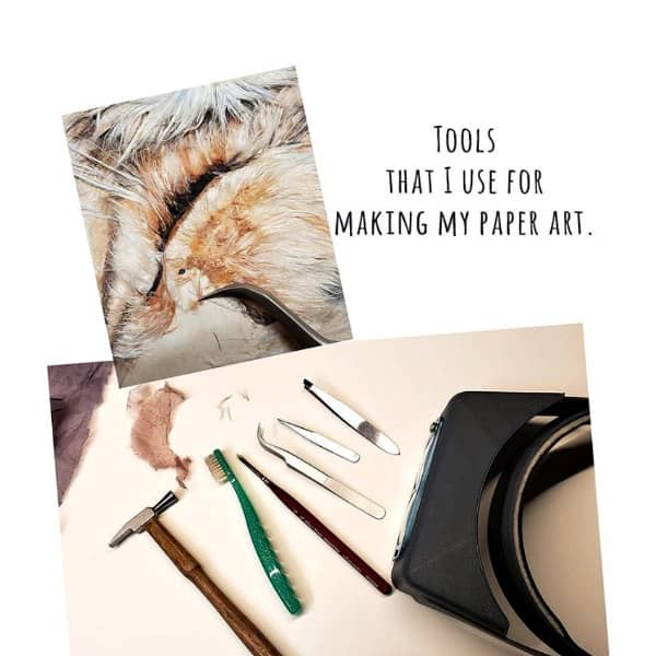 tools used to create hanji fiber art with example of fur-like texture