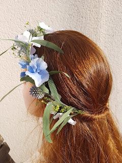 Patouche Chapeaux Couronne fleurs de soie hortensia bleu ciel, chardon, eucalyptus