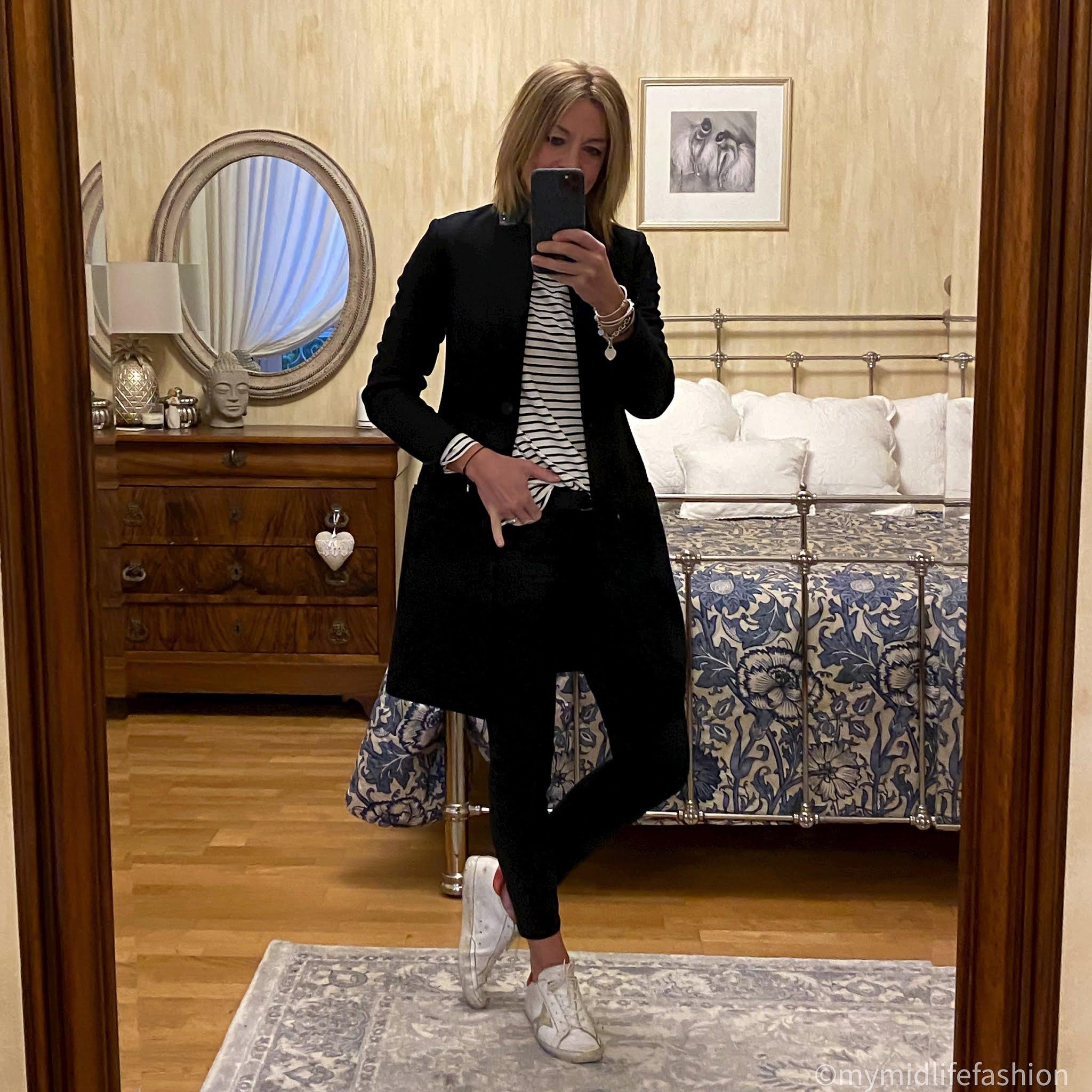 my midlife fashion, Baukjen Hanna Top, all saints coat, j crew 8 inch toothpick skinny jeans, golden goose superstar low top leather trainers
