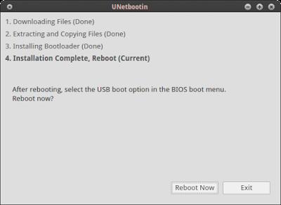 Setelah selesai silahkan pilih restart untuk merestart sistem operasi anda, jika exit maka akan menutup aplikasi Unetbootin-nya