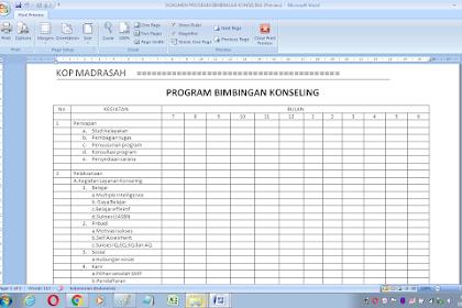 Format Program bimbingan dan konseling di sekolah dan madrasah
