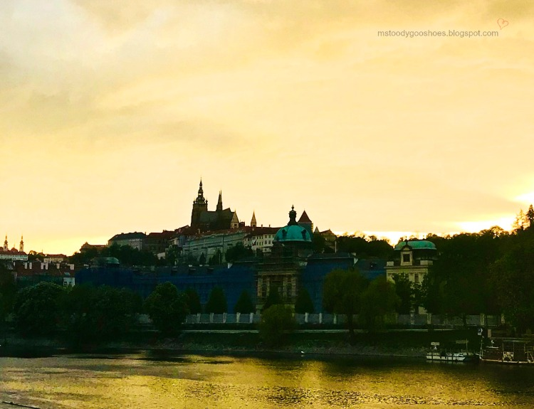 Views of Castle Quarter at dusk in Prague are stunning | Ms. Toody Goo Shoes #prague #castlequarter