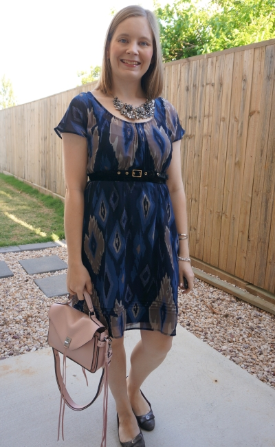 navy belted ikat print dress with blush pink Rebecca Minkoff Darren bag | awayfromblue