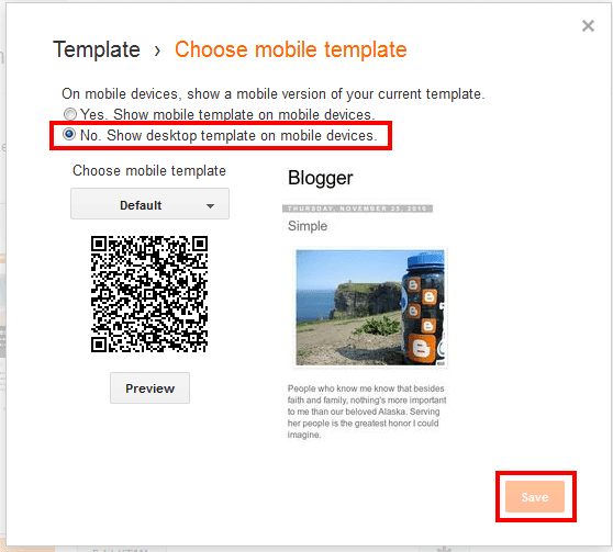 disable default blogger template