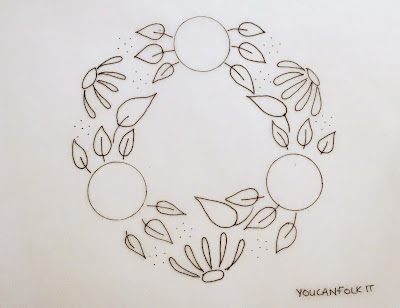 Pattern from You Can Folk It using different painting kits to create a beautiful painted floral wreath