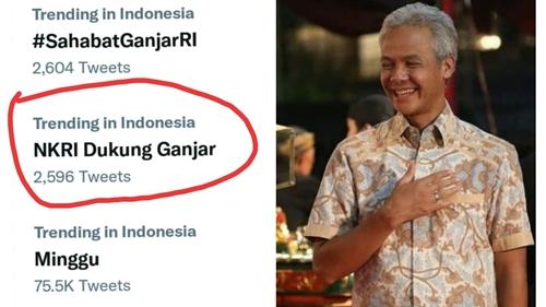 'NKRI Dukung Ganjar' Menggema di Twitter, Netizen Dorong Gubernur Jawa Tengah Maju Pilpres 2024