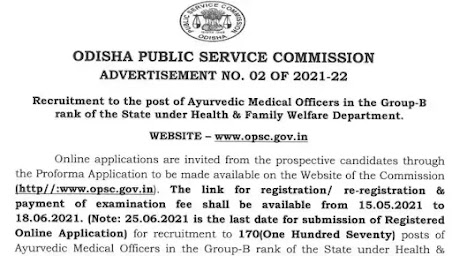 OPSC Recruitment 2021 | Ayruvedic Medical Officers.