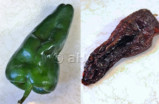 Poblano Chili left and Ancho dried version right