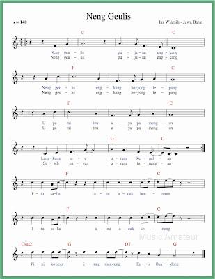 not balok lagu neng geulis lagu daerah jawa barat