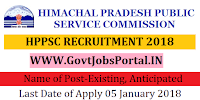 Himachal Pradesh Public Service Commission Recruitment 2018-Existing, Anticipated