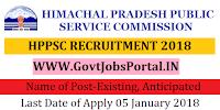 Himachal Pradesh Public Service Commission Recruitment 2018-Existing, Anticipated