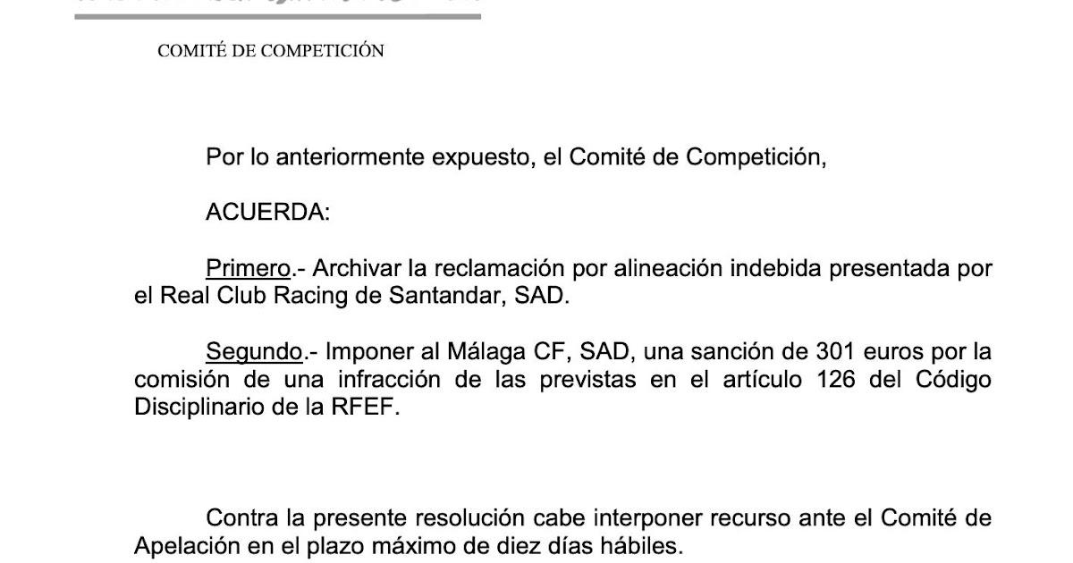 El Málaga Sancionado Con 301 Euros Todo Sobre El Racing En