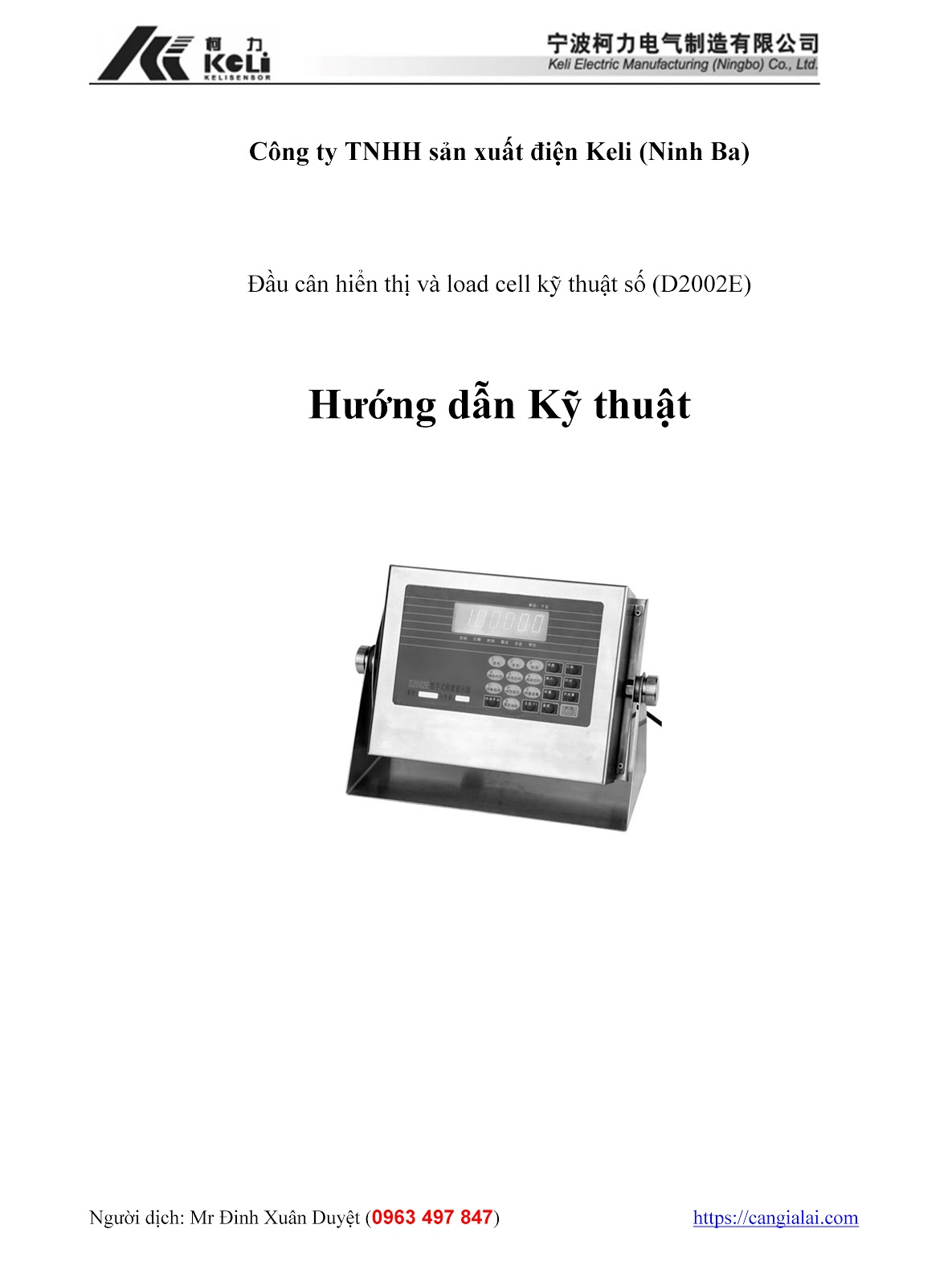Hướng dẫn cấu hình trên đầu cân kỹ thuật số D2002E 1