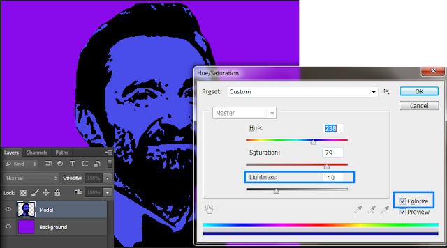 apply hue and saturation in photoshop