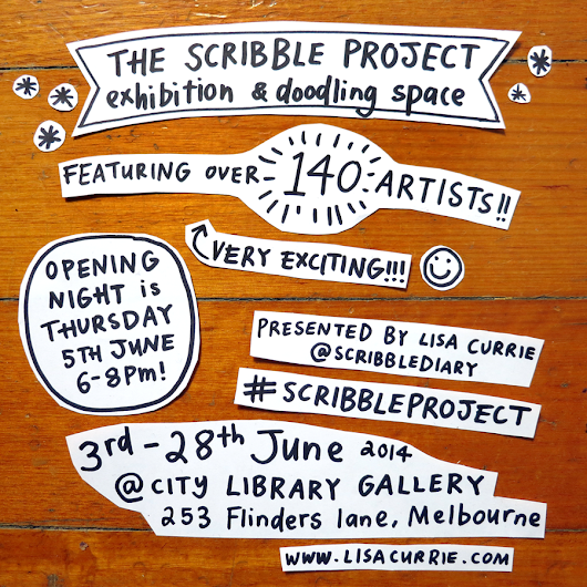 Scribble-project show (NameShameGame) and mini-landscapes @ City Library, Melb.city...